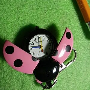 Stainless steel Ladybug watch keychain or purse fo